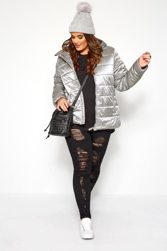 SIZE UP - Gewatteerde jas met capuchon in zilverkleur