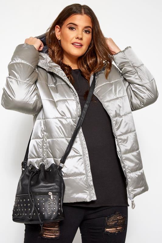 Plus Size Puffer & Quilted Jackets SIZE UP Silver Hooded Padded Puffer Coat