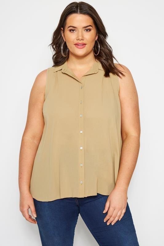 SIZE UP Tan Sleeveless Shirt