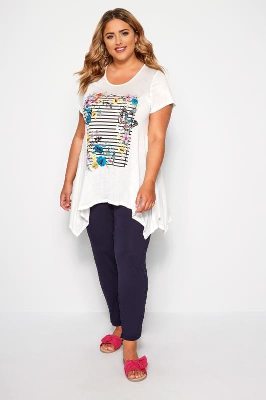 SIZE UP White Butterfly Stripe Hanky Hem T-Shirt