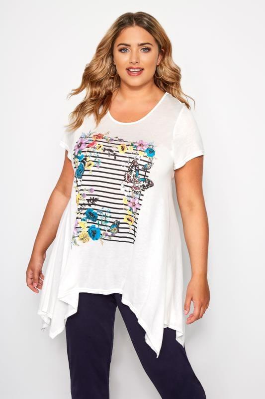 Plus Size T-Shirts SIZE UP White Butterfly Stripe Hanky Hem T-Shirt