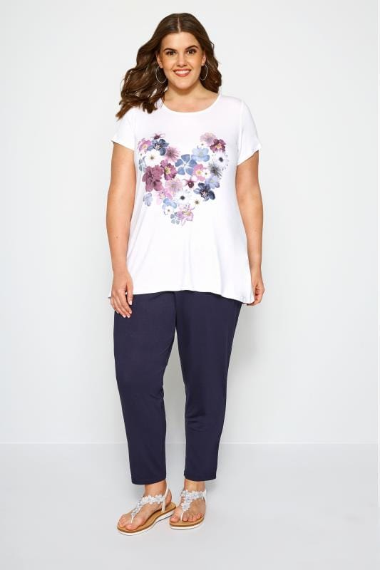 SIZE UP White Floral Heart T-Shirt