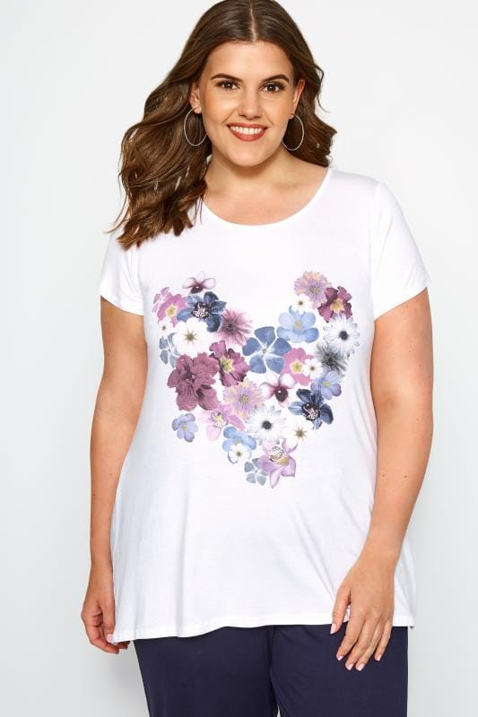 Plus Size Jersey Tops SIZE UP White Floral Heart T-Shirt