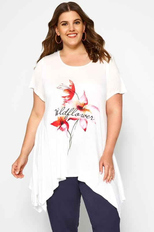 Plus Size Jersey Tops SIZE UP White Floral 'Wildflower' T-Shirt