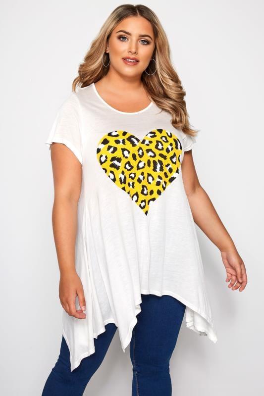 SIZE UP White Leopard Print Hanky Hem T-Shirt