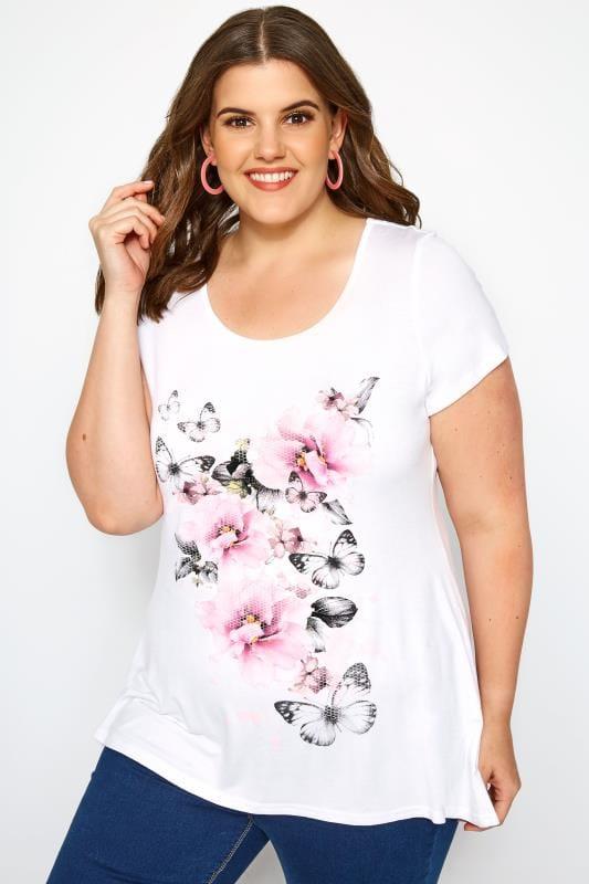 Camisetas Tallas Grandes Camiseta blanca mariposas y flores rosas