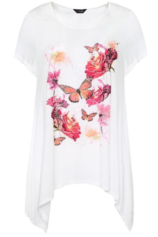 SIZE UP White & Pink Floral Butterfly T-Shirt