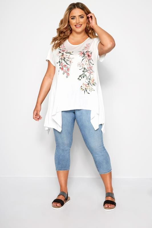 SIZE UP White Floral Hanky Hem T-Shirt