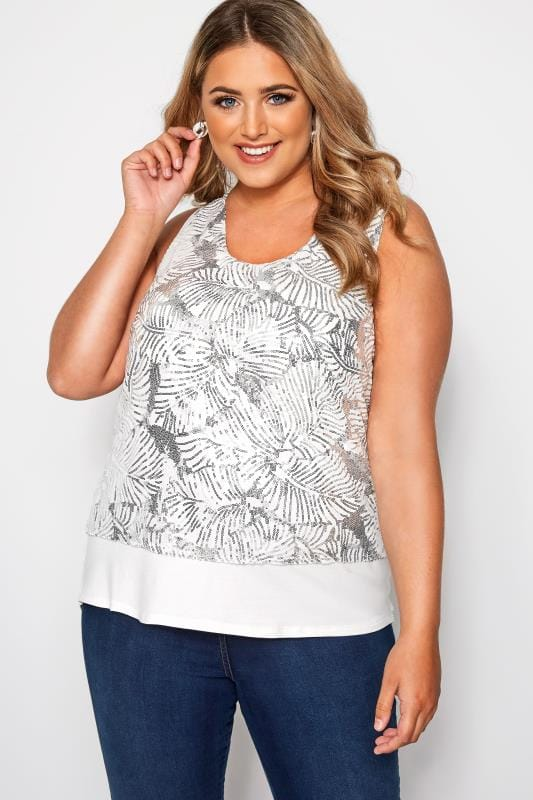 Plus Size Party Tops SIZE UP White Sequin Jersey Top