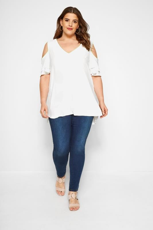 SIZE UP White Tipped Cold Shoulder Blouse
