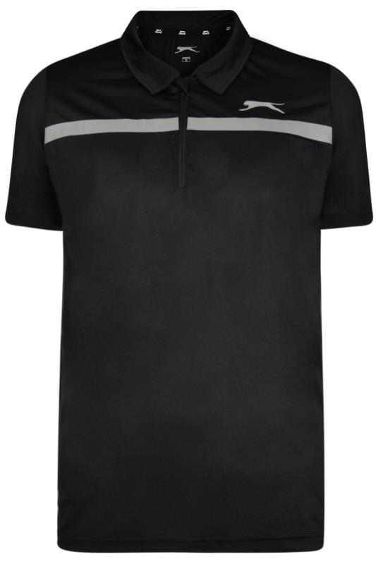 Polo Shirts Grande Taille SLAZENGER Black Sports Polo Shirt