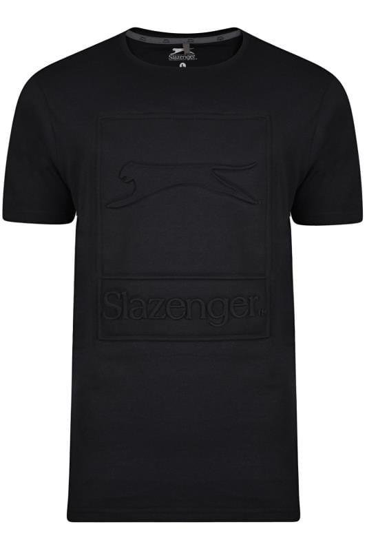 Plus-Größen T-Shirts SLAZENGER Black Textured Logo T-Shirt