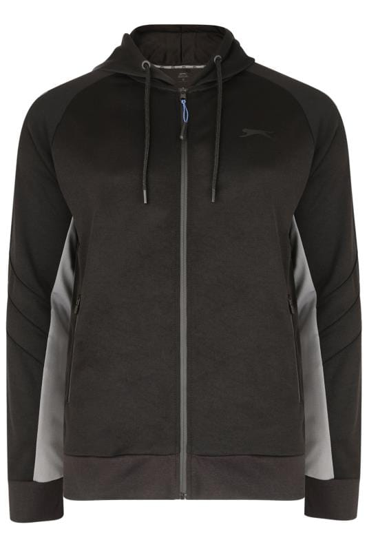 Plus Size Hoodies SLAZENGER Black & Grey Zip Through Hoodie