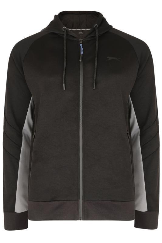 Большие размеры | Hoodies SLAZENGER Black & Grey Zip Through Hoodie