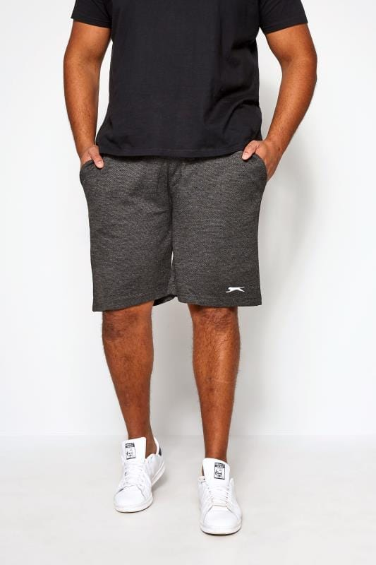 Большие размеры | Jogger Shorts SLAZENGER Charcoal Grey Textured Jogger Shorts