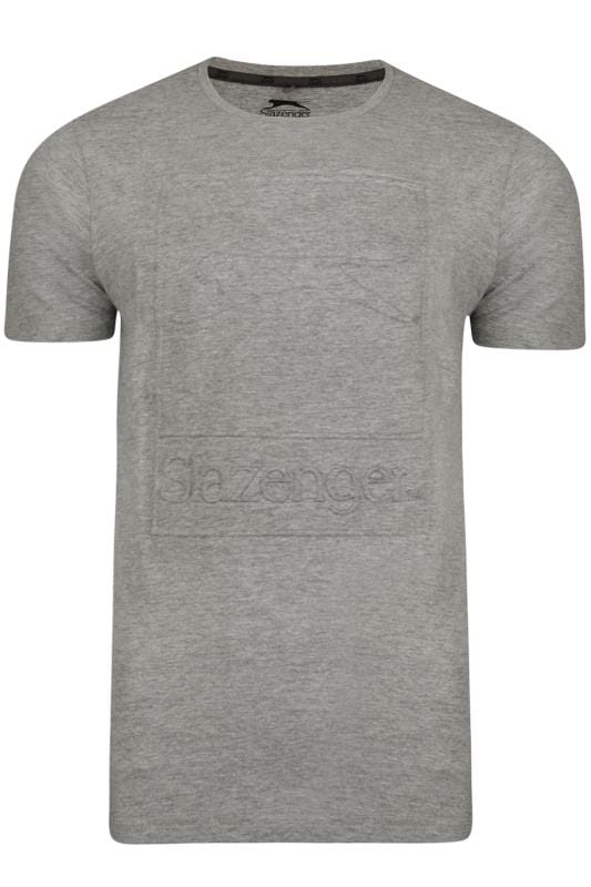 Plus Size T-Shirts SLAZENGER Grey Marl Textured Logo T-Shirt