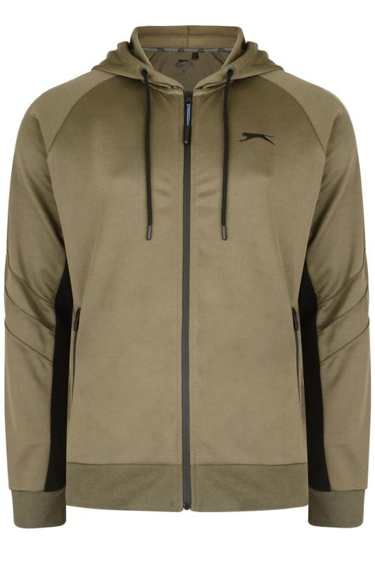 Plus Size Hoodies SLAZENGER Khaki Zip Through Hoodie