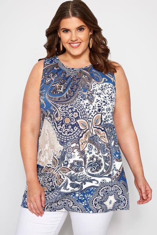 Plus Size Vests & Camis Blue Paisley Swing Vest Top