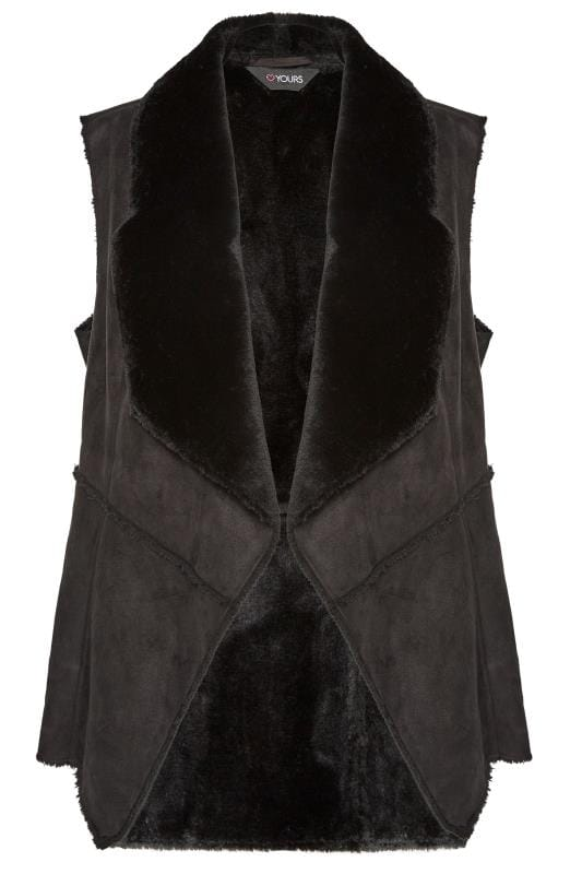 Black Sleeveless Shearling Gilet