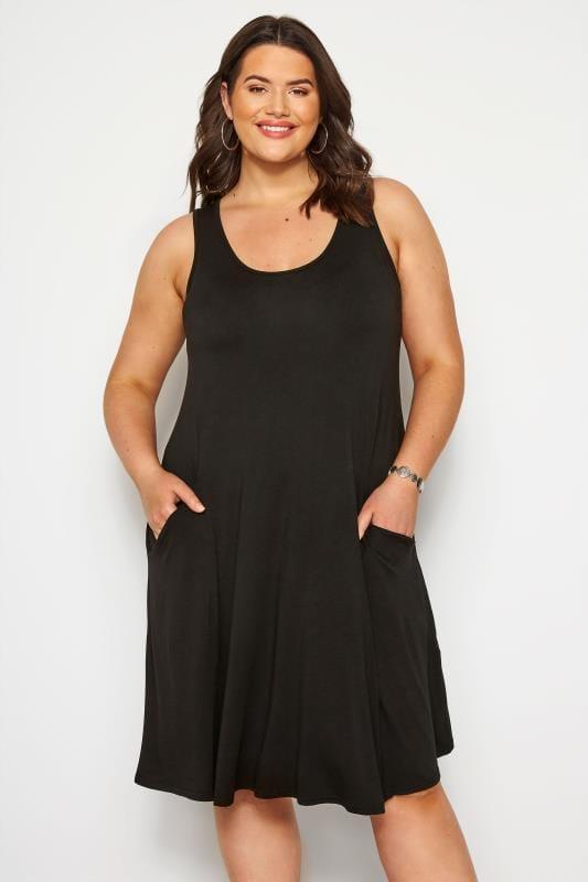 Plus Size Casual Dresses Black Sleeveless Drape Pocket Dress