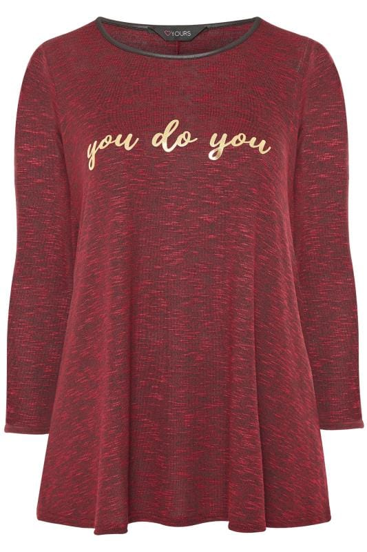 Wine Red Marl 'You Do You' Slogan Swing Top