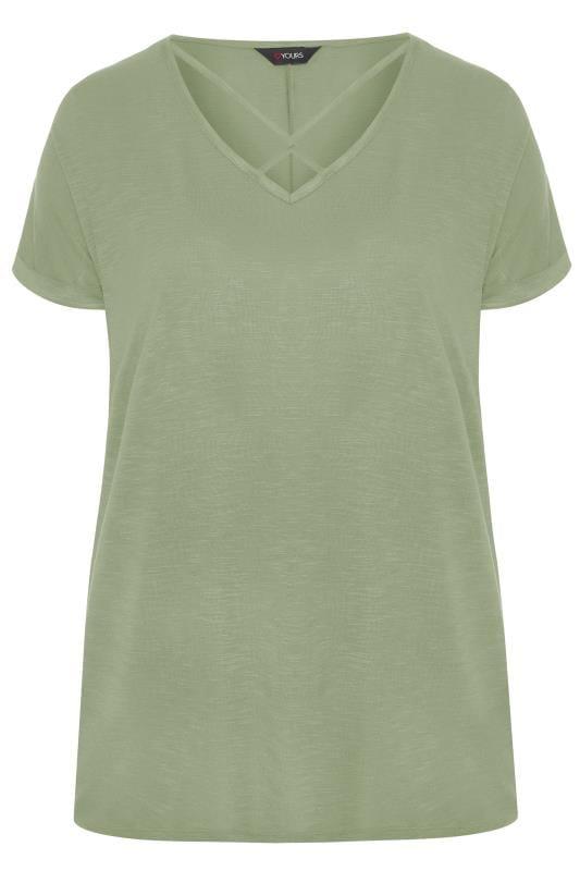 Khaki Green Lattice Front Top
