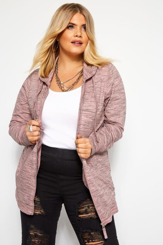 Plus Size Sweatshirts & Hoodies Pink Marl Zip Through Hoodie