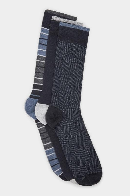 Plus Size Socks SMITH & JONES 3 PACK Blue Striped Socks