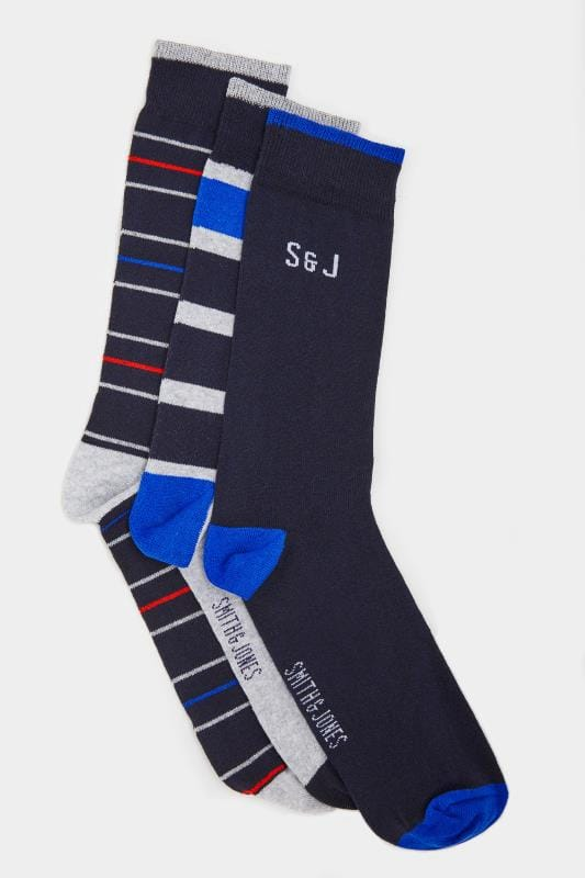SMITH & JONES 3 PACK Navy Striped Socks