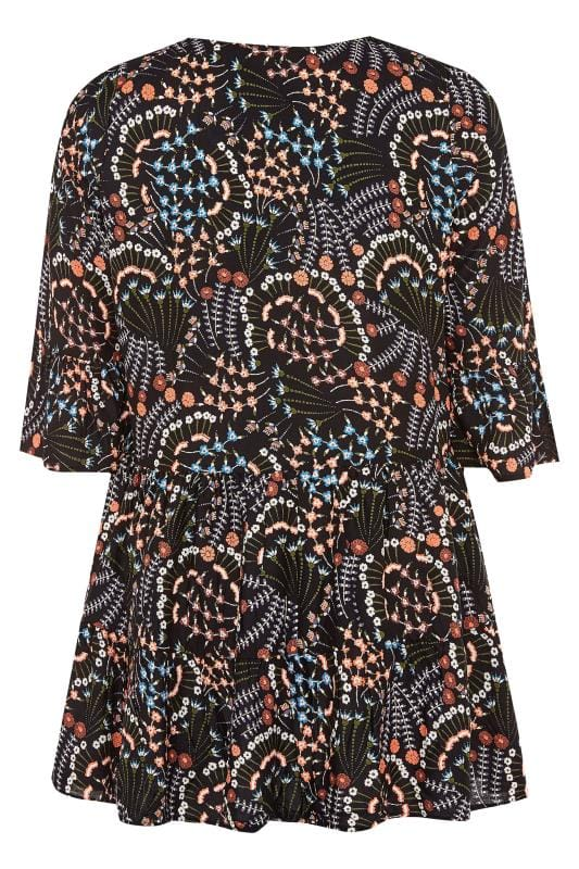 Black Floral Fan Print Smock Blouse