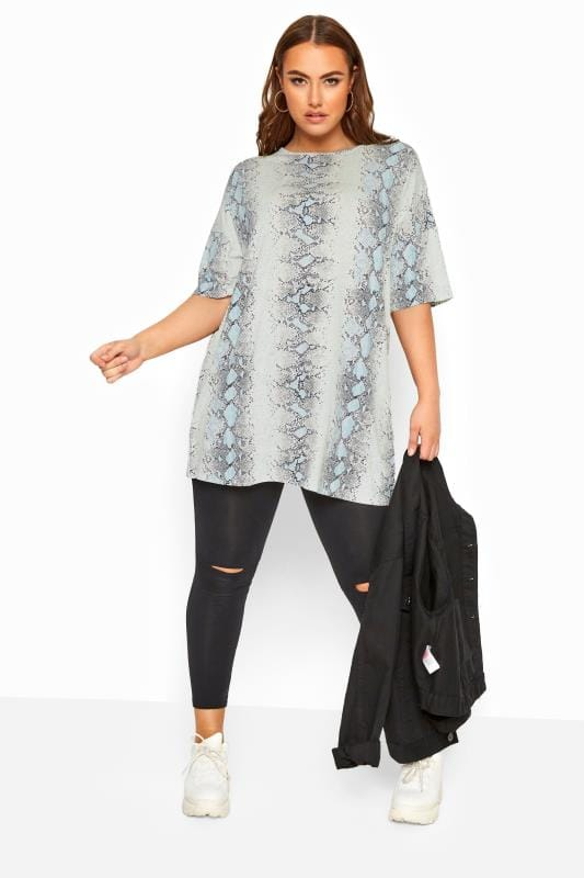 LIMITED COLLECTION Grey Snake Print Oversized Top