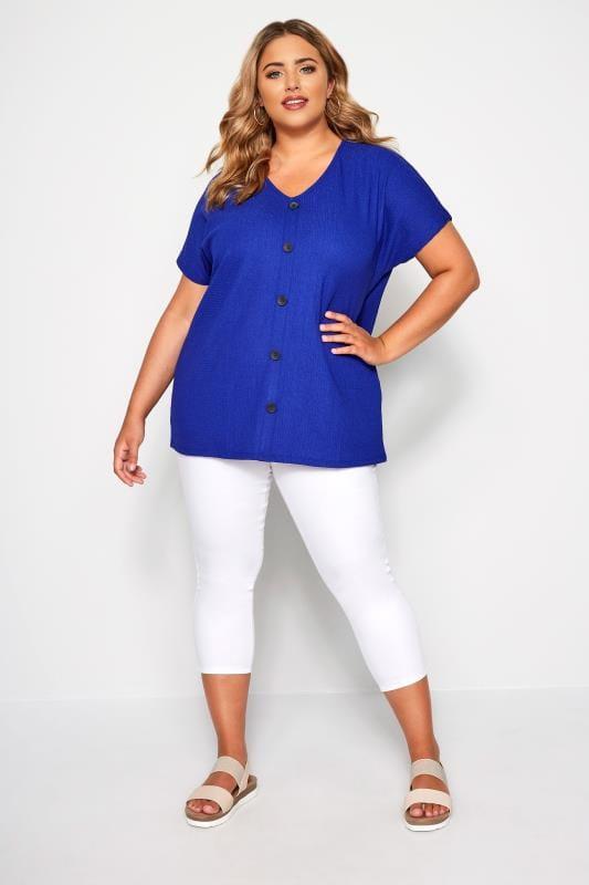 Cobalt Blue Crinkle Jersey Top