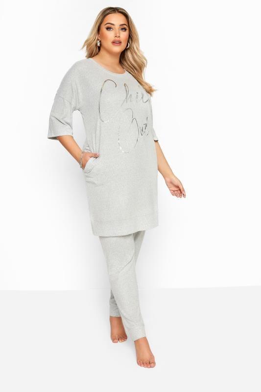 Plus Size Loungewear Grey Marl Soft Jersey Lounge Pants
