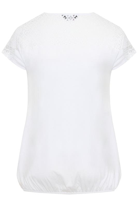White Crochet Lace Bubble Hem Top