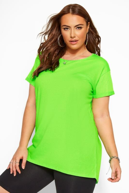 Plus Size Jersey Tops Neon Green Mock Pocket T-Shirt