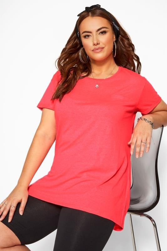 Plus Size Jersey Tops Neon Pink Mock Pocket T-Shirt