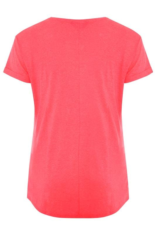 Neon Pink Mock Pocket T-Shirt