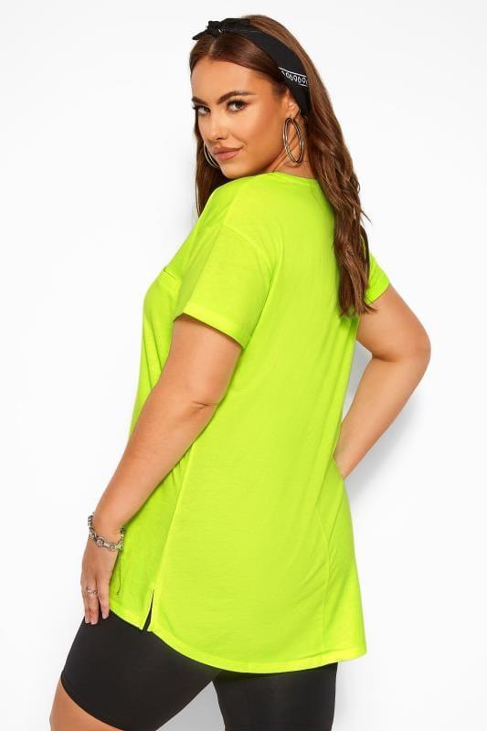 Neon Yellow Mock Pocket T-Shirt