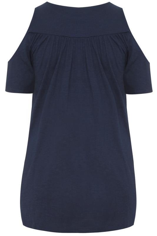 Navy Cold Shoulder Crochet Lace Top
