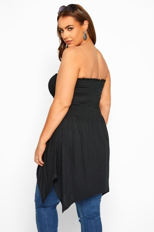 Black Shirred Asymmetric Bandeau Top