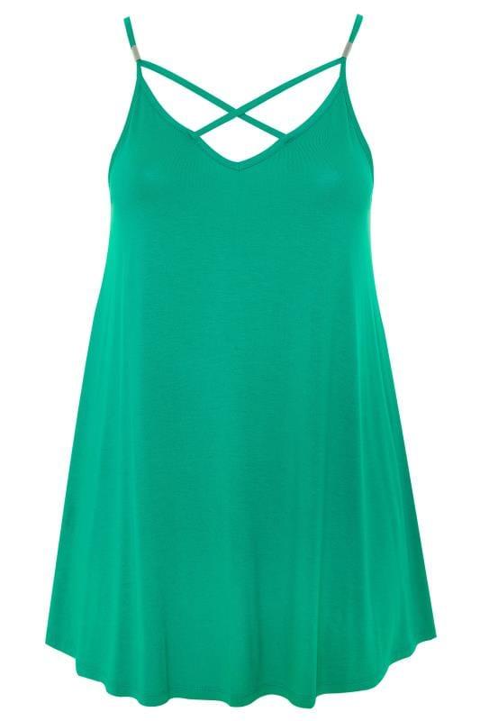 Green Lattice Swing Cami Top