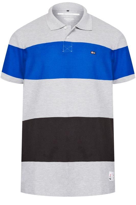 Polo Shirts SOUTHPOLE Grey Block Stripe Polo Shirt 171251