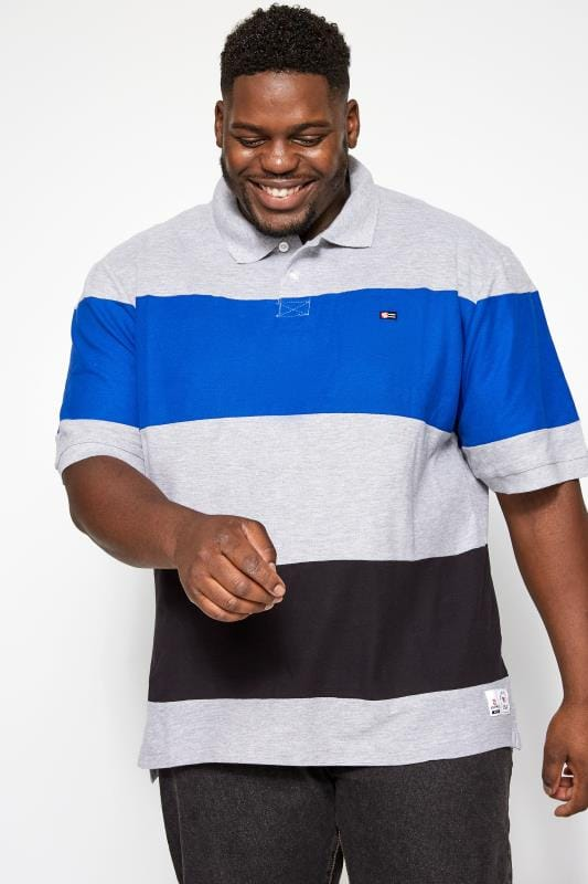 Plus Size Polo Shirts SOUTHPOLE Grey Block Stripe Polo Shirt