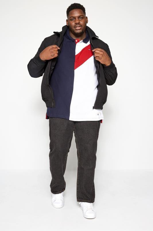 SOUTHPOLE Navy & White Block Colour Polo Shirt