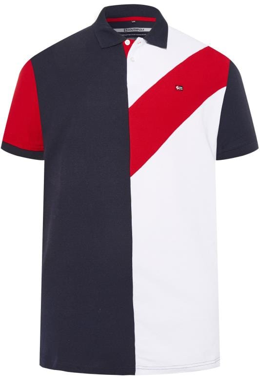 Polo Shirts SOUTHPOLE Navy & White Block Colour Polo Shirt 171258
