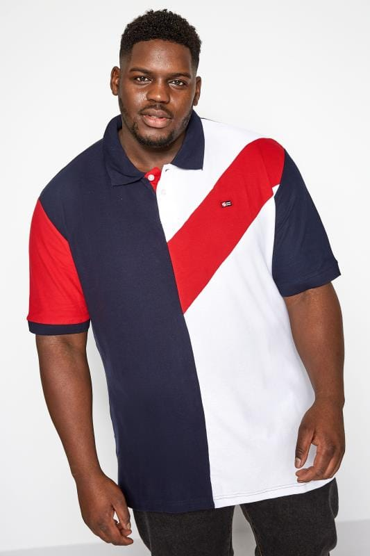 Plus Size Polo Shirts SOUTHPOLE Navy & White Block Colour Polo Shirt