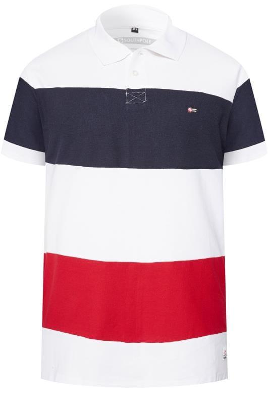 SOUTHPOLE White Block Stripe Polo Shirt