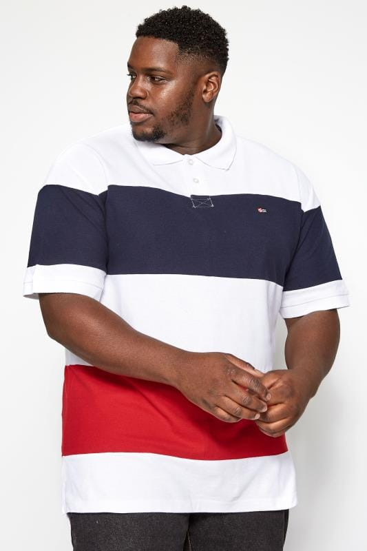 Plus Size Polo Shirts SOUTHPOLE White Block Stripe Polo Shirt