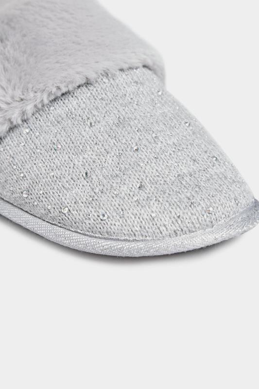 Pantolette mit Diamante-Verzierung - Grau