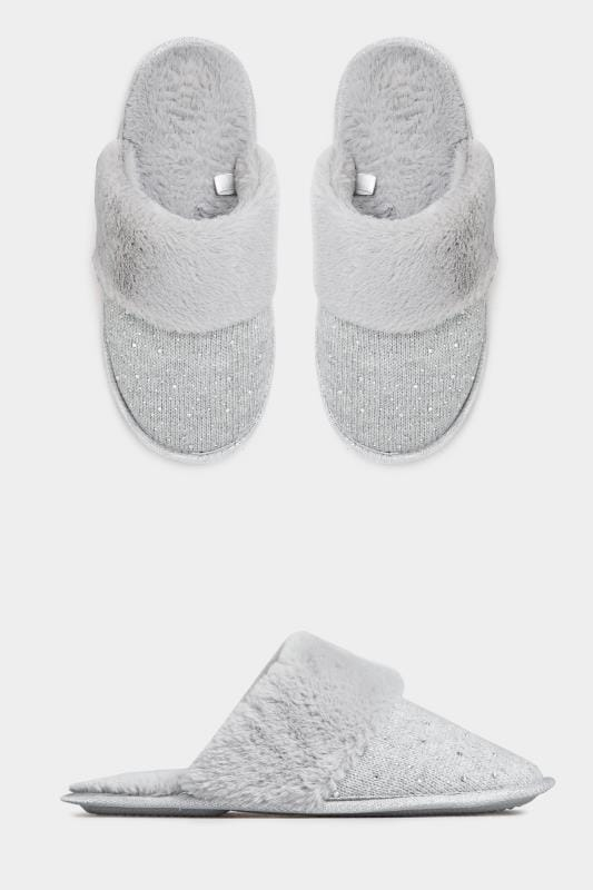 Wide Fit Slippers Grey Diamante Faux Fur Slippers In Extra Wide Fit